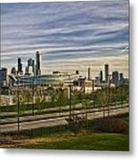 Chicago Skyline From The Sledding Hill Metal Print