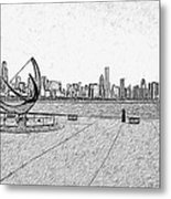 Chicago Skyline Hard Ink Metal Print