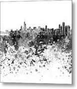 Chicago Skyline In Black Watercolor On White Background Metal Print