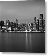 Chicago Skyline In Fog With Reflection - Black And White Metal Print