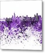 Chicago Skyline In Purple Watercolor On White Background Metal Print