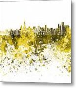 Chicago Skyline In Yellow Watercolor On White Background Metal Print