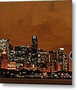 Chicago Skyline Panorama At Dusk Metal Print