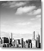 Chicago Skyline Panoramic Black And White Picture Metal Print