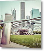 Chicago Skyline With Pritzker Pavilion Vintage Picture Metal Print