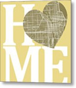 Chicago Street Map Home Heart - Chicago Illinois Road Map In A H Metal Print