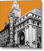 Chicago Theater - Dark Orange Metal Print