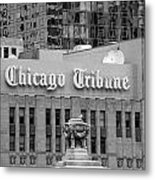 Chicago Tribune Facade Signage Bw Metal Print