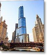 Chicago Trump Tower At Michigan Avenue Bridge Metal Print by Paul Velgos