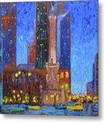 Chicago Water Tower At Night Metal Print