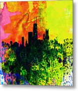 Chicago Watercolor Skyline Metal Print