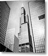 Chicago Willis-sears Tower In Black And White Metal Print by Paul Velgos