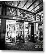 Chicago Willis-sears Tower Sign In Black And White Metal Print by Paul Velgos