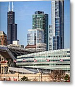 Chicago With Soldier Field And Sears Tower Metal Print by Paul Velgos