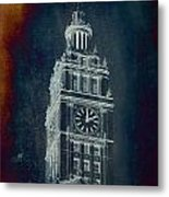 Chicago Wrigley Clock Tower Textured Metal Print