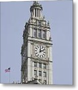 Chicago Wrigley Clock Tower Metal Print