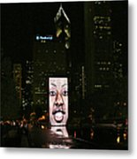 Chicago's Crown Fountain At Night Metal Print by Christine Till