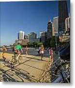 Chicago's Lakefront Bike Path On A Summer Evening Metal Print