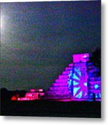 Chichen Itza Full Moon Metal Print