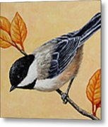 Chickadee And Autumn Leaves Metal Print