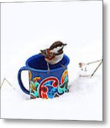 Chickadee And Tin Cup In Snow Metal Print