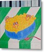 Chickadee Chick Macaroni Metal Print