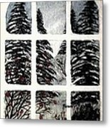 Chickadees And Dogberries Abstraction Metal Print