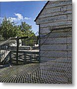 Chicken Coop Mesh Metal Print by Gregory Scott