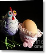 Chicken With Her Baby Egg Metal Print by Victoria Herrera
