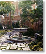 Child And Fountain Metal Print