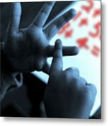 Child Counting Metal Print