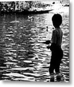 Child Fishing Metal Print