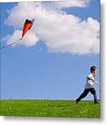Child Flying A Kite Metal Print