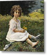 Child In The Meadow Metal Print