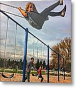 Child On Swing Metal Print