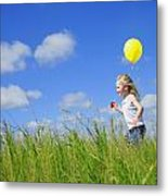 Child Running With A Balloon Metal Print