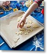 Children Baking Christmas Cookies Metal Print
