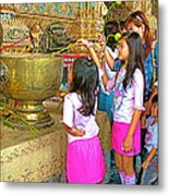 Children Bring Lotus Flowers To Royal Temple At Grand Palace Of Thailand Metal Print