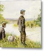 Children Fishing By A Stream Metal Print