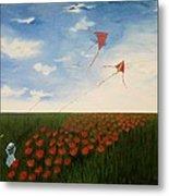 Children Flying Kites Metal Print by Rejeena Niaz