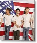 Children In Front Of American Flag Metal Print by Don Hammond