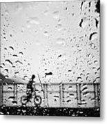 Children In Rain Metal Print
