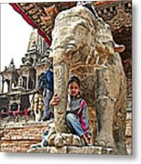 Children Love The Elephants In Patan Durbar Square In Lalitpur-nepal Metal Print