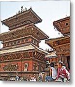 Children On Pagodas In Bhaktapur Durbar Square In Bhaktapur-nepal Metal Print