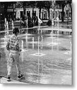 Children Play By Fountain Metal Print