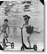 Children Playing Under Water Metal Print