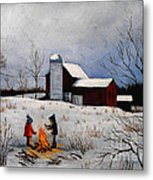 Children Warming Up By The Fire Metal Print
