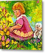 Children's Art - Little Girl With Puppy - Paintings For Children Metal Print