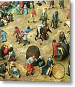 Childrens Games Kinderspiele Detail Of Bottom Section Showing Various Games, 1560 Oil On Panel Metal Print