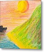 Child's Hand Drawing Of Sea And Mountain Landscape With Crayons Metal Print